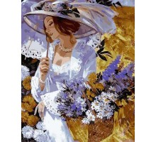 Картина по номерам Девушка в саду хризантем