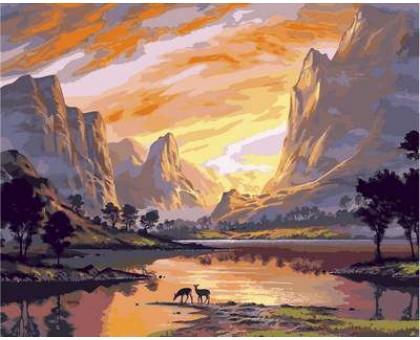 Картина по номерам Закат над горной долиной