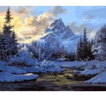 Картина по номерам Горное озеро зимой