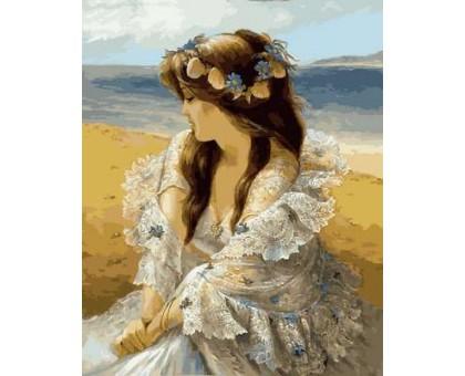 Картина по номерам Девушка в венке из ракушек