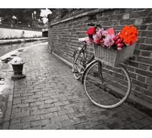 Картина по номерам Велосипед с цветочной корзиной