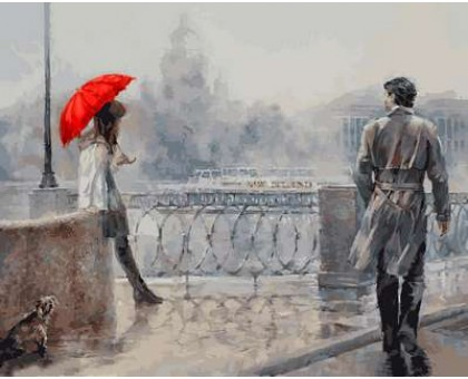 Картина по номерам Незнакомка под алым зонтом