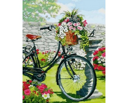 Картина по номерам Велосипед в цветущем саду