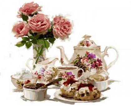 Картина по номерам Чай с клубничными пирожными