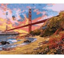 Картина по номерам Закат над мостом Золотые Ворота