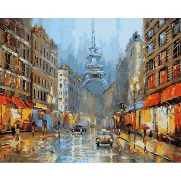 Картина по номерам Париж в сиянии фонарей