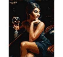 Картина по номерам Девушка с бокалом Бордо