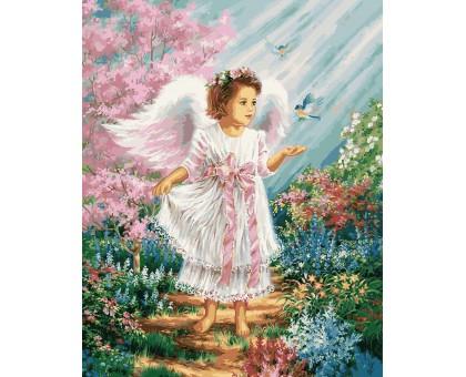 Картина по номерам Ангелочек в цветущем саду