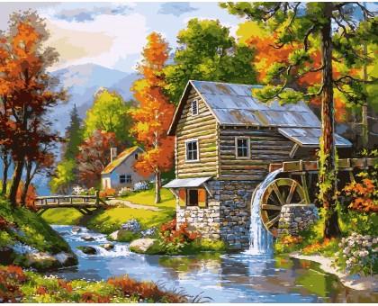 Картина по номерам Мельница на берегу озера