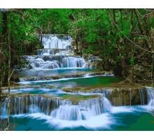 Картина по номерам Водопад в зелени