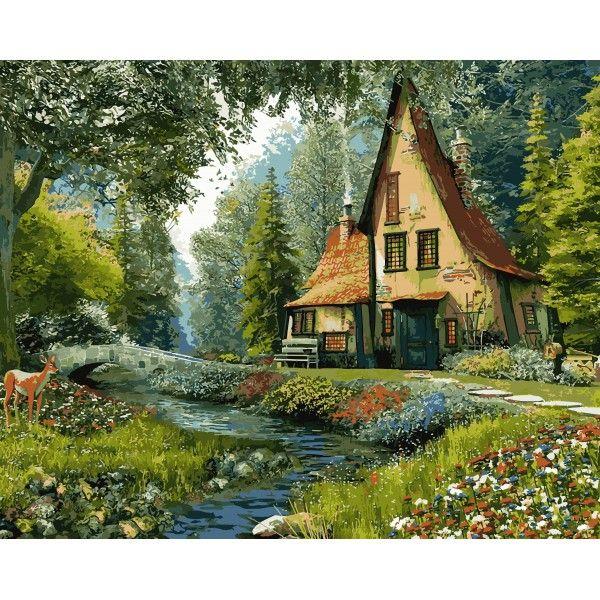 Картина по номерам Дом на опушке леса