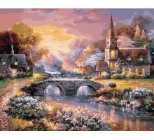 Картина по номерам Закат над горной деревней