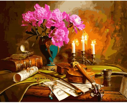 Картина по номерам Натюрморт со скрипкой и пионами