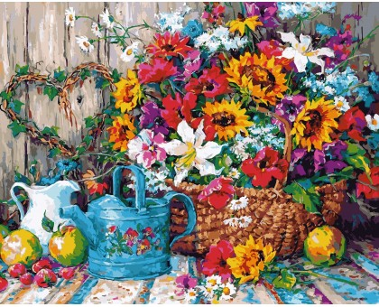 Картина по номерам Натюрморт с цветочной лейкой