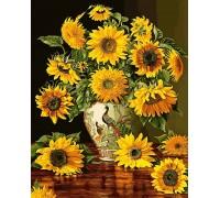 Картина по номерам Подсолнухи в вазе с павлинами