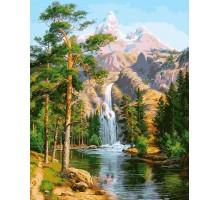 Картина по номерам Водопад в сосновом лесу