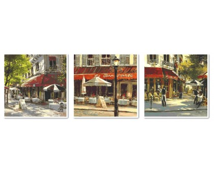 Триптих по номерам на холсте Триптих Летние кафе