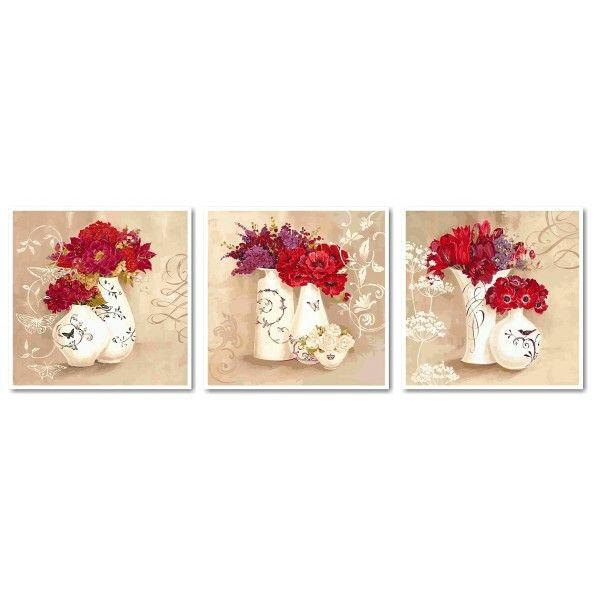 Картина по номерам триптих Красные букеты