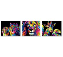 Картина по номерам Триптих. Радужные животные