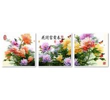 Картина по номерам Триптих. Японские хризантемы