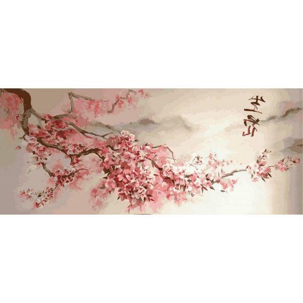 Картина по номерам Триптих. Ветка сакуры