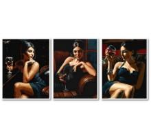 Картина по номерам Триптих Девушка с бокалом вина