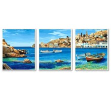 Картина по номерам Триптих Лазурное побережье