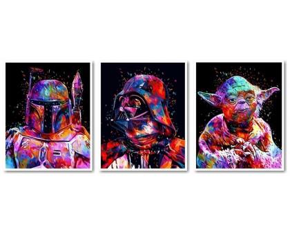 Картина по номерам Триптих Звездные войны Боба Фетт Дарт Вейдер Йода