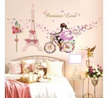 """Интерьерная наклейка на стену """"Девочка на велосипеде в Париже"""""""