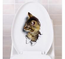 """Интерьерная виниловая 3D наклейка на холодильник """"Кот"""""""