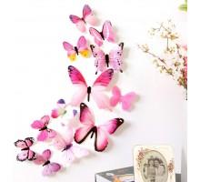 Интерьерные наклейки Бабочки 3D, 12 штук