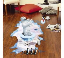 """Интерьерная виниловая 3D наклейка """"Белые медведи"""""""